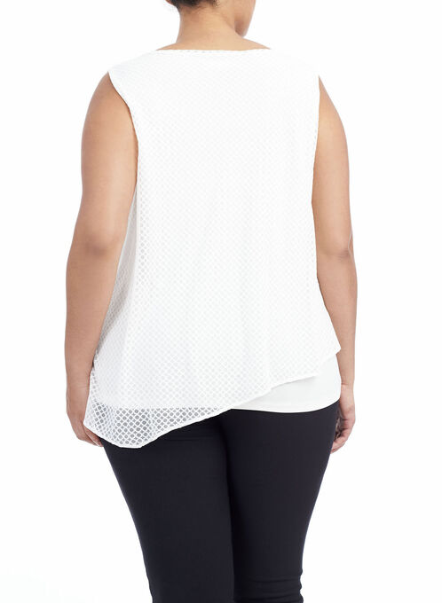 Jacquard Mesh Overlay Top , Off White, hi-res