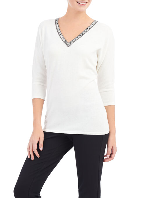 Jewel Trim Dolman Sleeve Top, Off White, hi-res