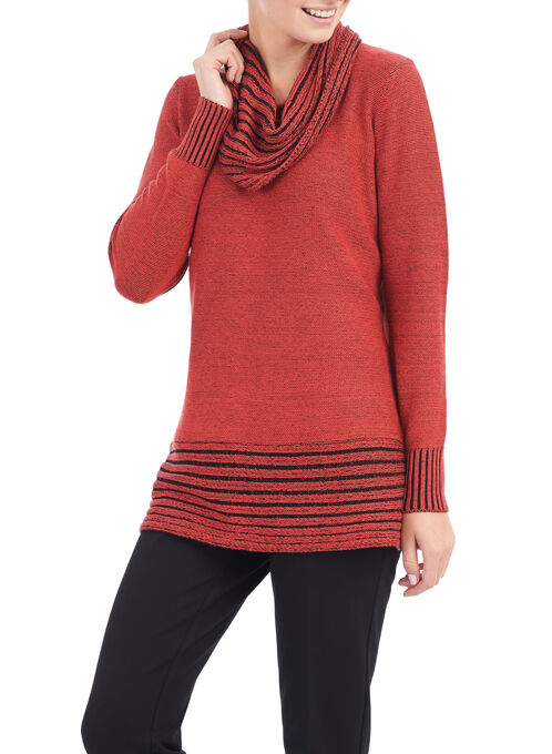 Ribbed Cowl Neck Sweater, Orange, hi-res