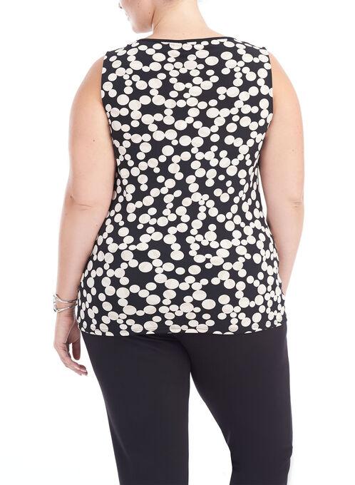 Sleeveless Dot Print Top, Black, hi-res