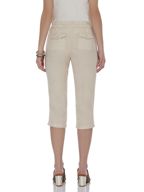 Linen Straight Leg Capri Pants, Off White, hi-res