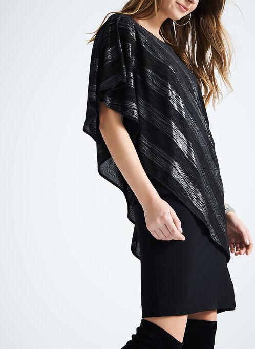 Metallic Poncho-Style Top, Black, hi-res