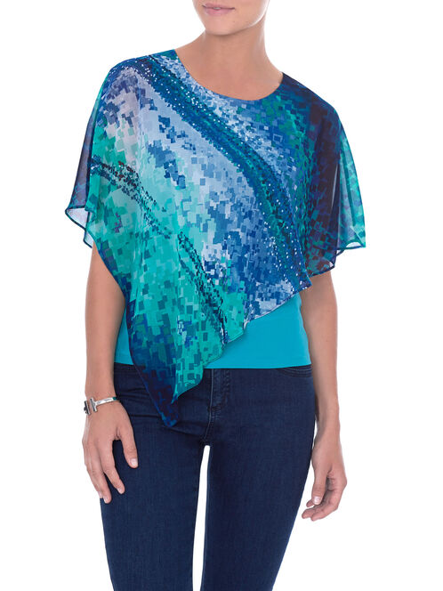 Printed Asymmetrical Popover Blouse , Blue, hi-res