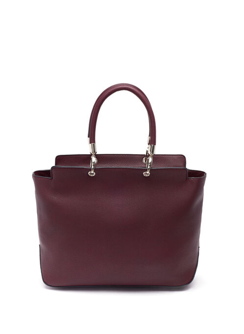 Faux Leather Tote Bag , Red, hi-res