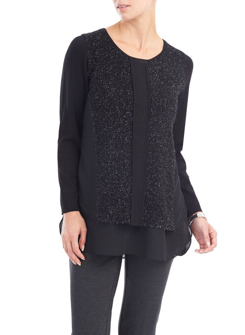 Metallic Knit Scoop Neck Top, Black, hi-res