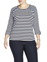 3/4 Sleeve Multi-Stripe T-Shirt, Blue, hi-res