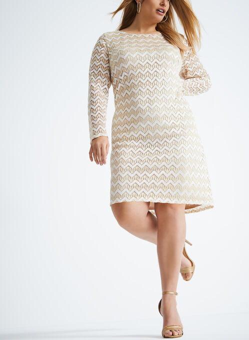 Long Sleeve Metallic Shift Dress, Gold, hi-res
