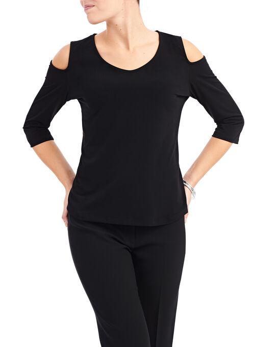 3/4 Sleeve Cold Shoulder Top, Black, hi-res