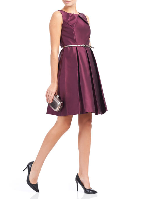 Tuck Neck Mikado Dress, Red, hi-res