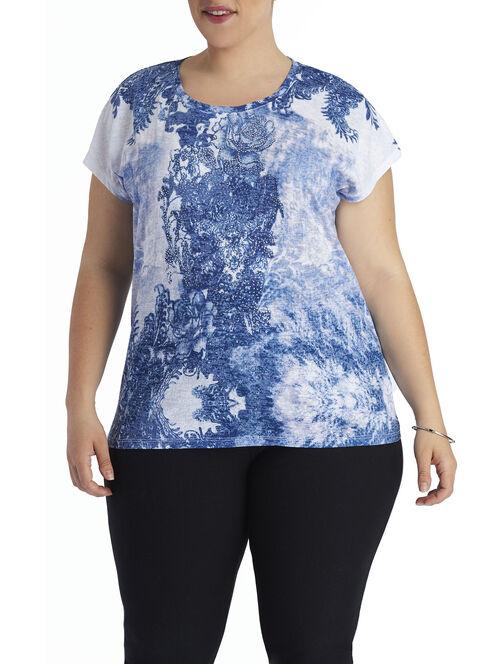 Scoop Neck Jewel Trim T-Shirt, White, hi-res