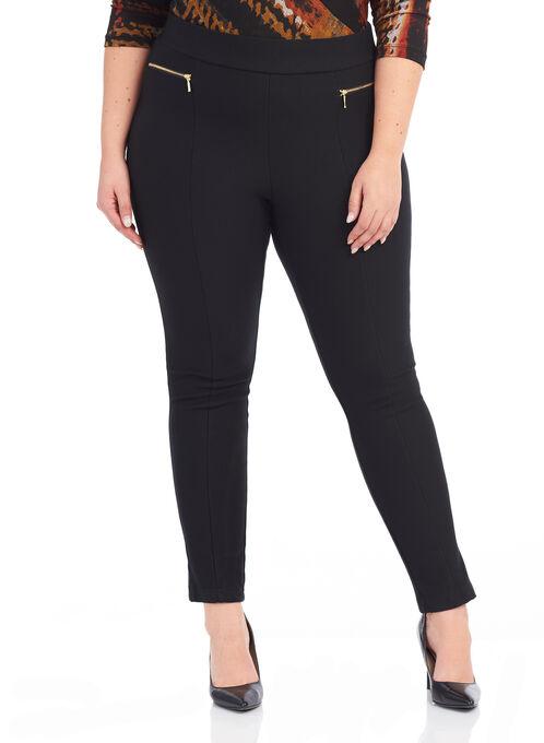 Zipper Trim Slim Leg Pants , Black, hi-res