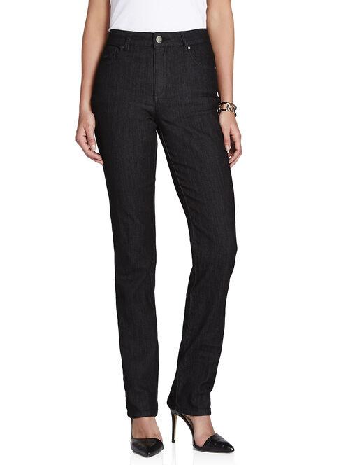 Simon Chang Lurex Stitch Straight Leg Jeans, Black, hi-res