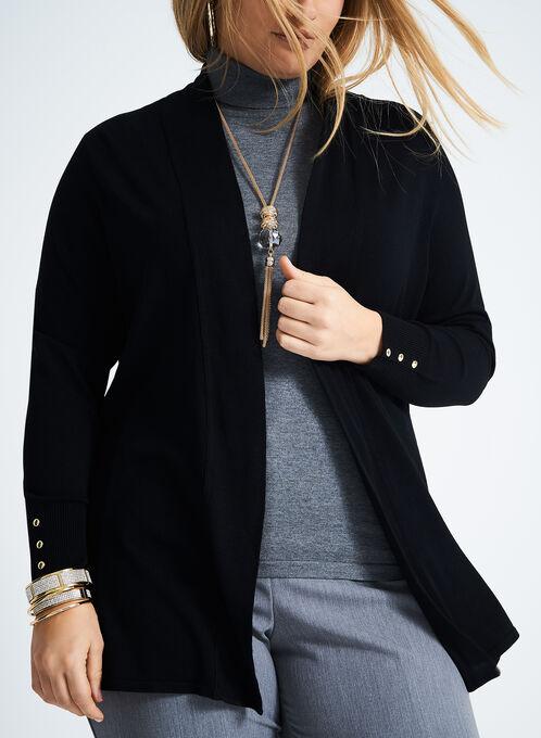 Long Sleeve Knit Caridgan , Black, hi-res