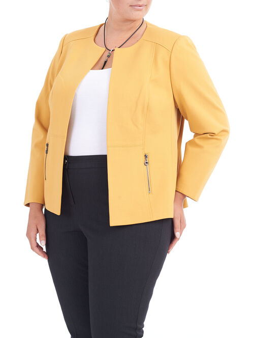 Collarless Ponte Jacket, Yellow, hi-res