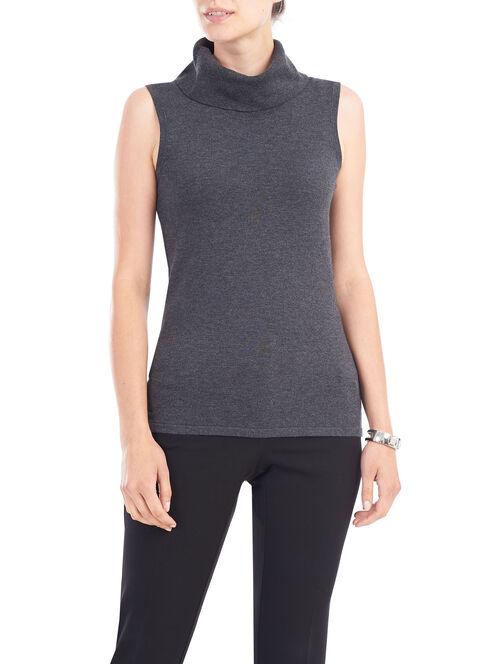 Sleeveless Knit Turtleneck, Grey, hi-res
