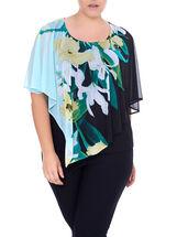 Floral Print Poncho Top, Blue, hi-res