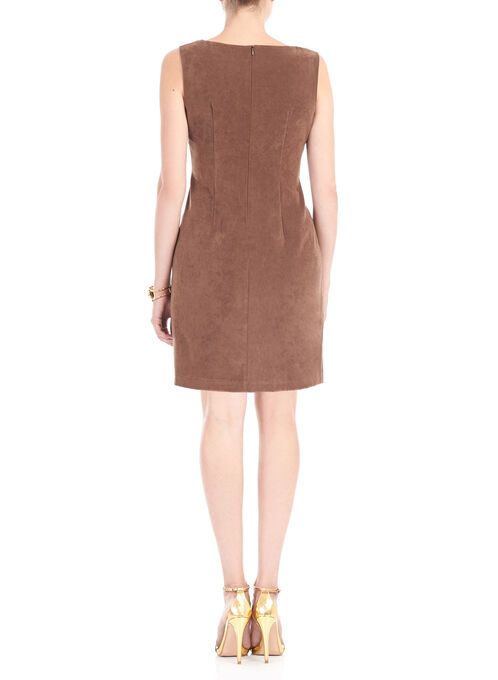 Sleeveless Faux Suede Dress, Brown, hi-res