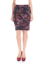 Floral Print Straight Skirt, Red, hi-res