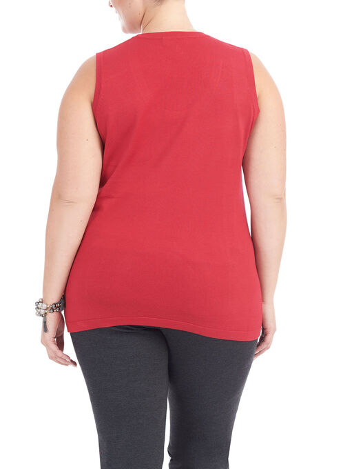 Sleeveless Scoop Neck Knit Top, Red, hi-res