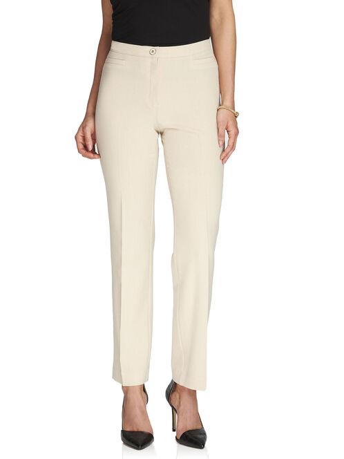 Signature Fit Elastic Waist Straight Leg Pants, Off White, hi-res