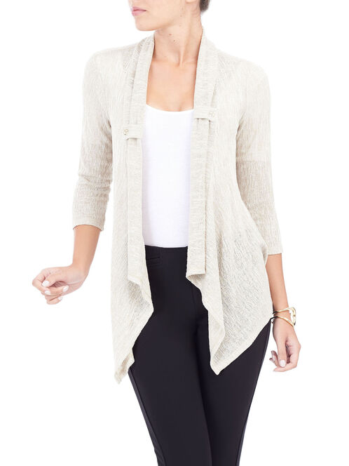 3/4 Sleeve Knit Cover-Up, Off White, hi-res