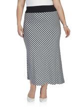 Stripe Print Maxi Skirt, Grey, hi-res