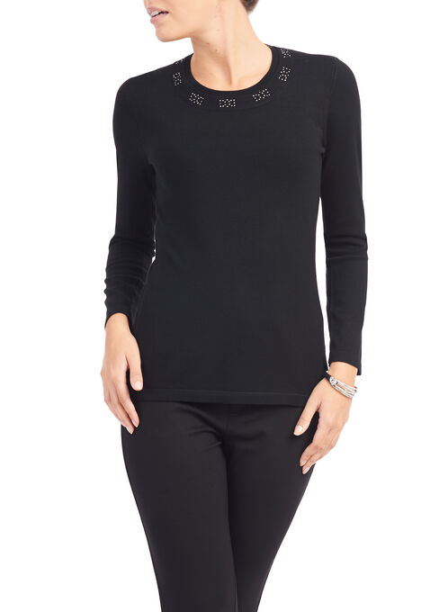 Studded Trim Crew Neck Sweater, Black, hi-res