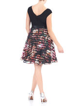 Printed Organza Fit & Flare Dress, Black, hi-res