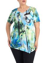 V-Neck Floral Print Knit Top, Blue, hi-res