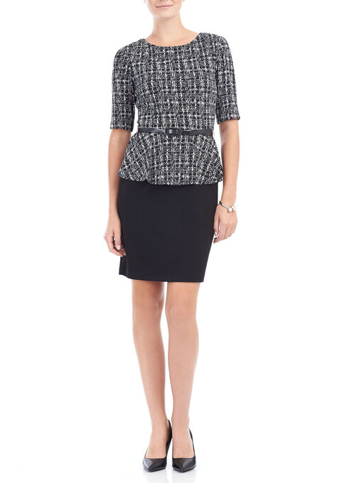 3/4 Sleeve Geo Print Belted Dress, Black, hi-res