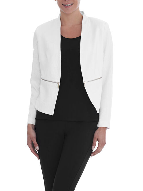 Jacquard Zipper Trim Blazer, White, hi-res