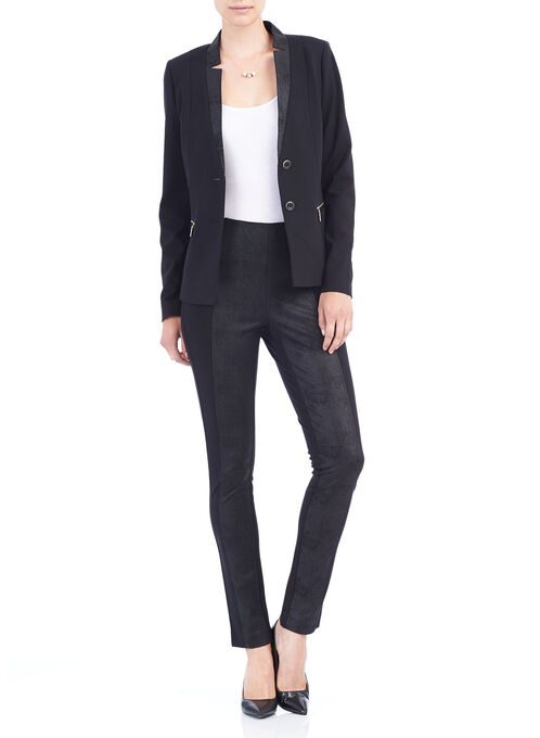 Ponte Zipper Trim Blazer, Black, hi-res