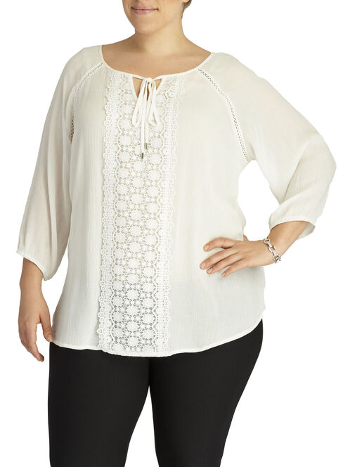 3/4 Sleeve Floral Lace Trim Tunic, Off White, hi-res