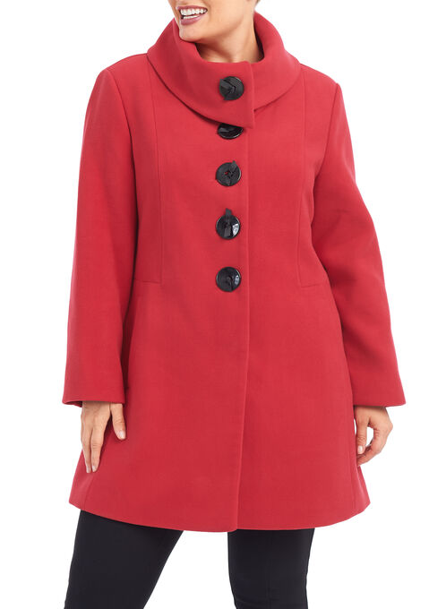 Marcona Wool-Like Coat , Red, hi-res