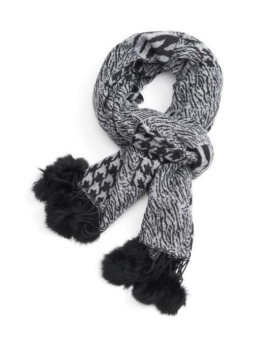 Printed Fur Oblong Scarf, Grey, hi-res
