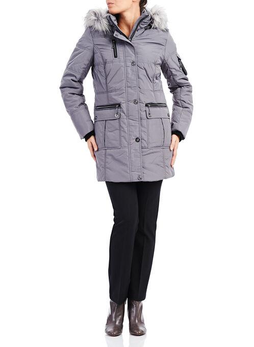 Novelti Polyfill Faux Fur Coat , Grey, hi-res