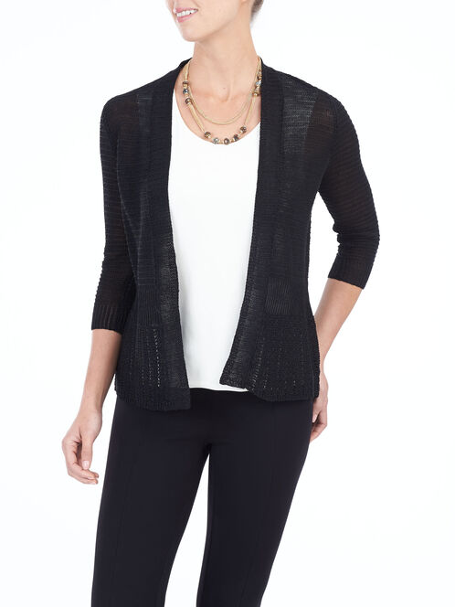 Long Sleeve Knit Cardigan , Black, hi-res
