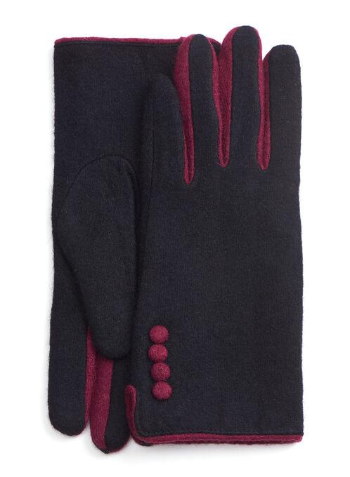 Contrast Detail Wool Gloves, Black, hi-res