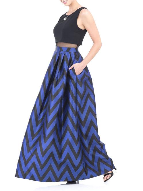 Sleeveless Mesh Detail Popover Gown , Black, hi-res