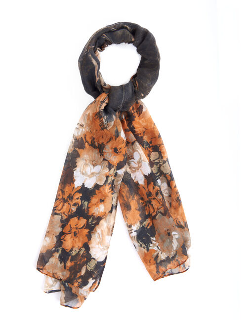 Floral Print Oblong Scarf, Brown, hi-res