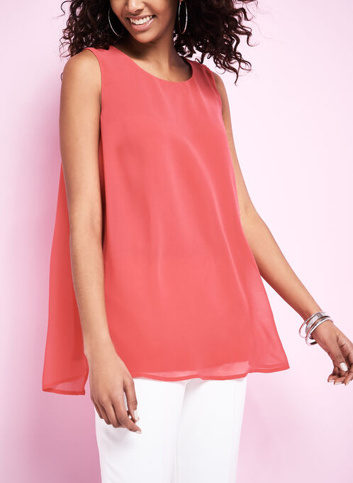 Sleeveless Layered Capelet Blouse, Red, hi-res