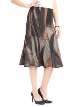 Abstract Print Knit Midi Skirt , Brown, hi-res