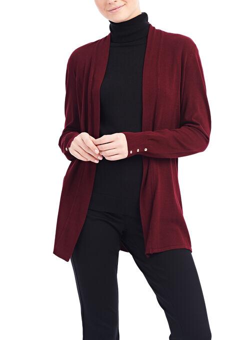 Stud Detail Knit Cardigan, Red, hi-res