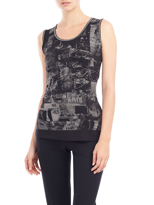 Sleeveless Cut & Sew Top, Black, hi-res