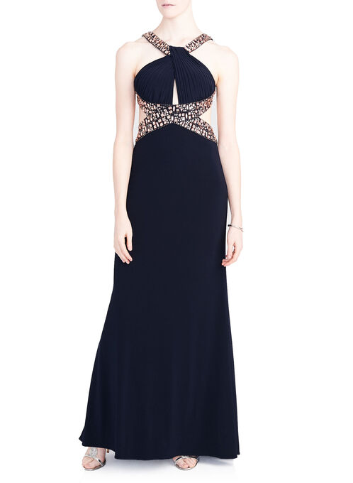 Crystal Embellished Open Back Pleat Detail Dress, Blue, hi-res