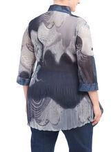 3/4 Sleeve Printed Blouse, Black, hi-res