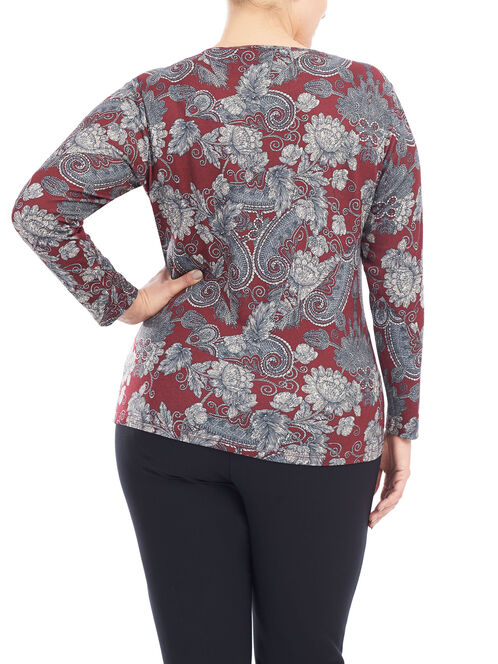 Long Sleeve Knit Cut & Sew Top , Red, hi-res
