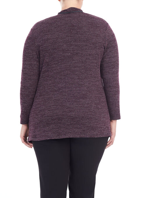 Long Sleeve Textured Knit Top, Purple, hi-res