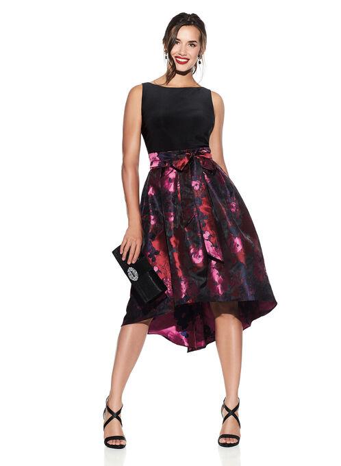 Jacquard Floral Print Dress, Red, hi-res