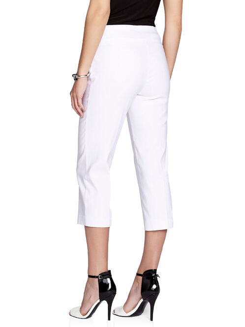 Up! Tummy Control Pull-On Capri Pants, White, hi-res
